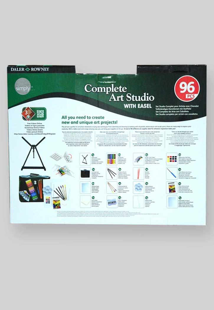 Daler Rowney Complete Art Studio With Easel 96pcs Set The